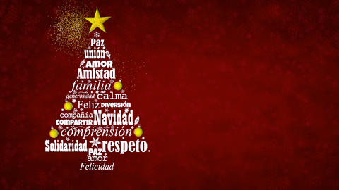 Greeting card with white words in Spanish language appear forming a Christmas tree with a bright Animation