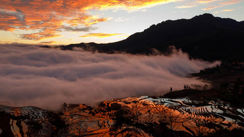 Amazing time lapse of the morning fog coming in at the terraced rice fields in Yuanyang China Live Action