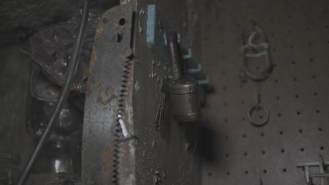 Old rusty padlock lit with flashlight - Flat image Footage