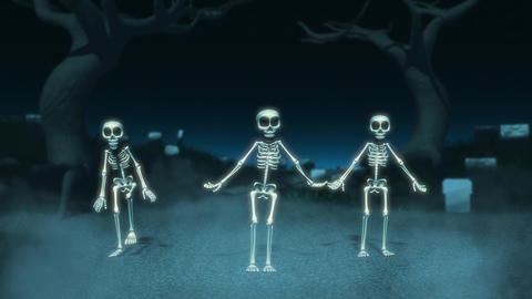 Cartoon Skeletons Dance Stock Video Footage