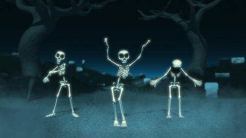 Cartoon Skeletons Dance Animation