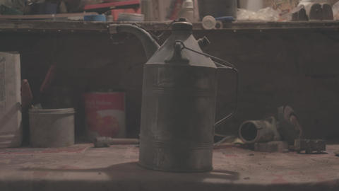 Close-up of oil canister lit with lantern - Flat image Footage