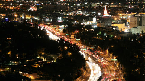 Hollywood Freeway At Night Time Lapse Footage