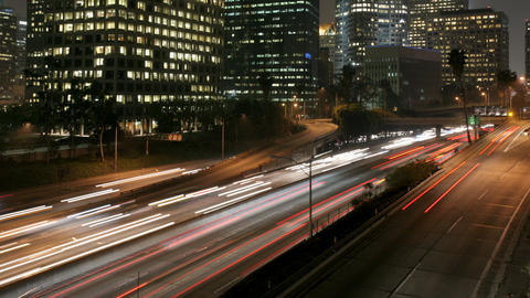 Los Angeles Night Traffic Time Lapse Footage