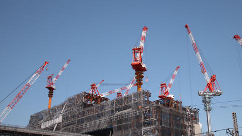 Construction Cranes Time Lapse Footage