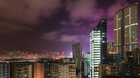 Hong Kong at Night Time Lapse Footage