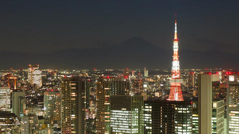 Mt Fuji and Tokyo Tower Time Lapse Footage