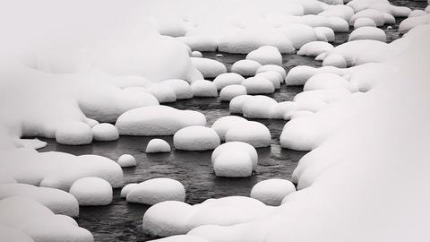Winter Snowy Stream Footage