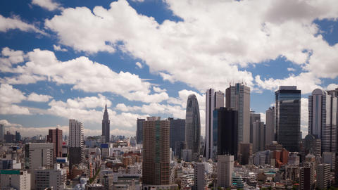 Clouds Over Shinjuku Skyline Time Lapse Footage