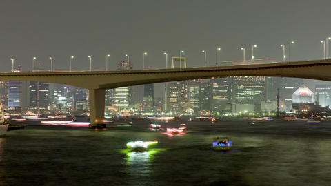 Night Boats Time Lapse Tokyo Bay Footage