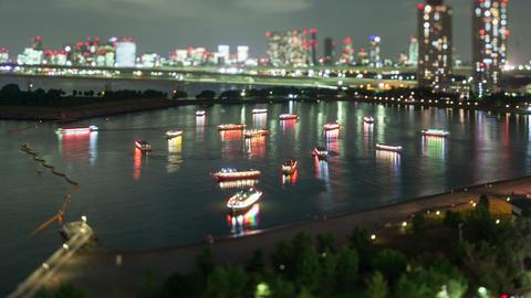 Night Time-Lapse Tokyo Bay Japan Footage