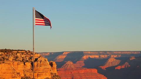Grand Canyon USA Flag Morning Live Action