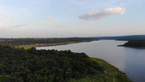 4K Drone shot aerial view scenic landscape of river reservoir dam Acción en vivo