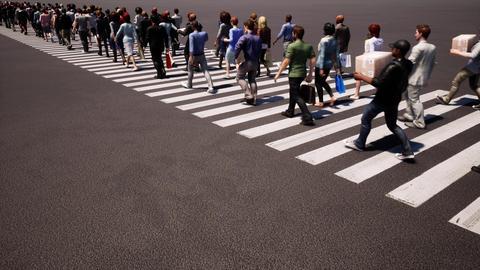 People crosswalk Busy street Zebra crossing. Business people Live Action