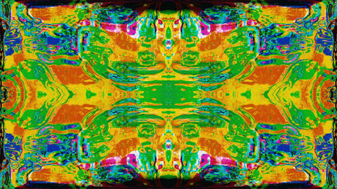 Software generated kaleidoscope, glitched clip, rainbow system error effect Live Action