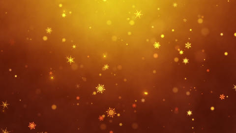 Snow falls and decorative snowflakes. Winter, Christmas, New Year. Dark orange artistic background. Animation