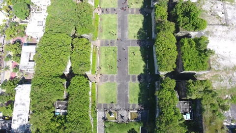 Top view on the alley with ancient architecture in Cultural Park on Bali, 4k Live Action