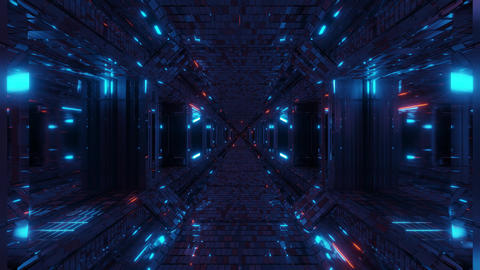 realistic futuristic sci-fi tunnel corridor with glas windows and glowing flying Animation