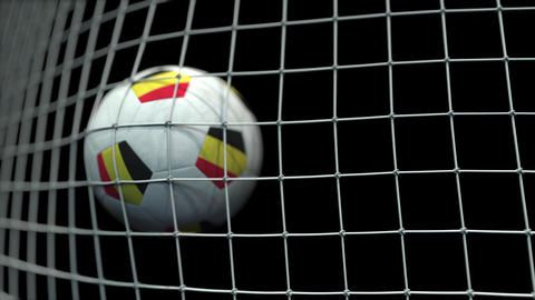 Ball with flags of Belgium hits goal. 3D animation Live Action