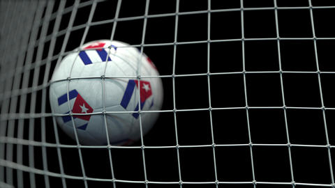 Ball with flags of Cuba hits goal. 3D animation Live Action