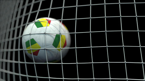 Ball with flags of Bolivia hits goal. 3D animation Live Action