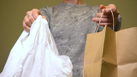 Choosing paper bag, not plastic bag. Zero waste world Live Action