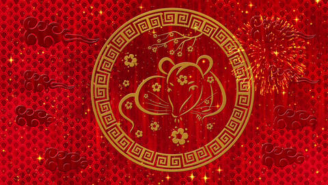 Lunar New Year, Spring Festival black background with rat, fireworks, glittering Animation