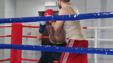 Boxing training in the gym - two athletic men having a fight on the boxing ring Live Action