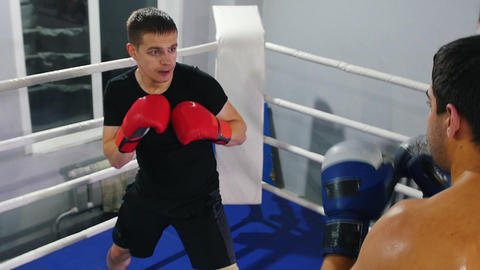 Boxing indoors - two men having a training fight on the boxing ring Live Action