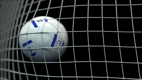 Ball with flags of Israel hits goal. 3D animation Live Action