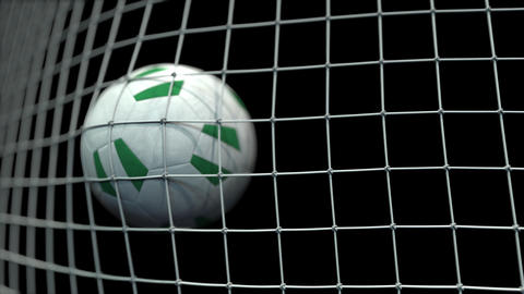 Ball with flags of Nigeria in goal against black background. Conceptual 3D Live Action