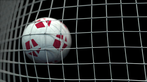 Ball with flags of Denmark hits goal. 3D animation Live Action