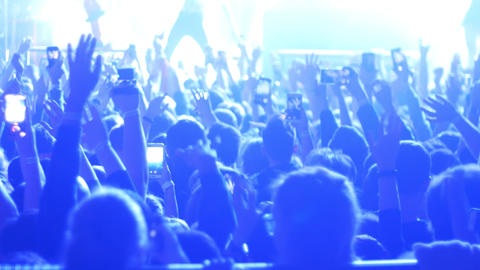 Energetic people dancing with their hands up at the rock concert - some people Live Action