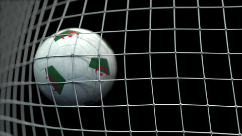 Ball with flags of Algeria hits goal. 3D animation Live Action