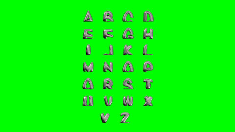 Modern text abc melt, great design on green background. Fluid art. Metal liquid Live Action