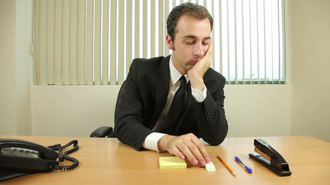 Businessman Goofing Off At Work Footage