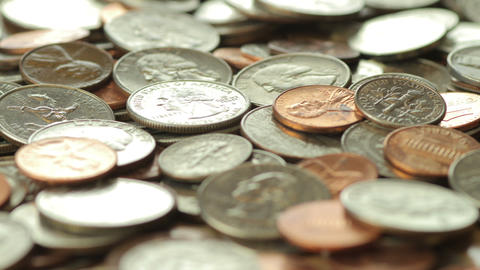 Dolly Past Pile Of US Coins Footage