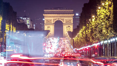 Paris - Arc de Triomphe Traffic Time Lapse Footage