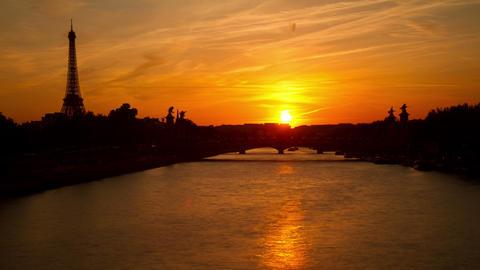 Paris Eiffel Tower Sunset Footage