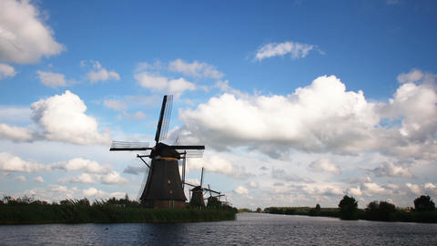 Windmill in the Netherlands Time Lapse Footage
