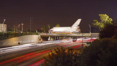 Space Shuttle Crosses Bridge Footage