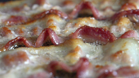 Bacon Frying In A Pan Macro ビデオ