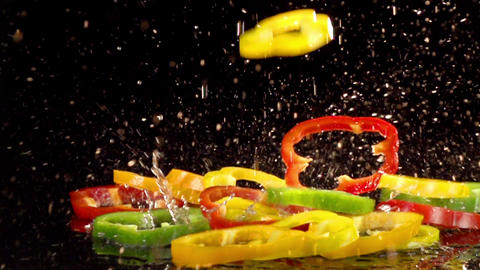 Fruit and Vegetables Splashing Footage