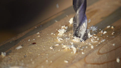 Macro Drilling Wood Slow Motion Footage