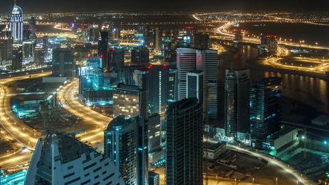 Dubai Cityscape Night Time Lapse Footage