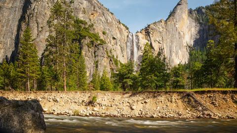 Yosemite National Park Bridal Veil Falls Footage