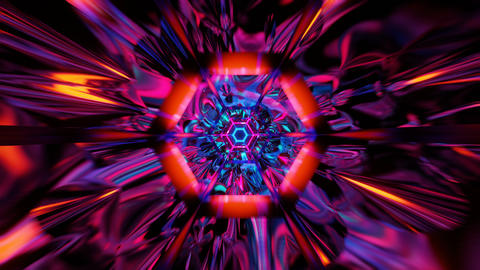 Fly thorugh loopable abstract colorful VJ tunnel with hexagon. Future, speed Animation