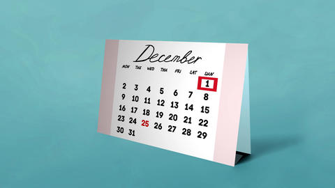 Calendar December on the table Animation