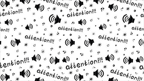 Black attention on white background Animation