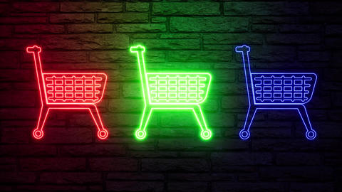 Colorful neon color shop trolley on light background. Shop store icon. Linear Live Action